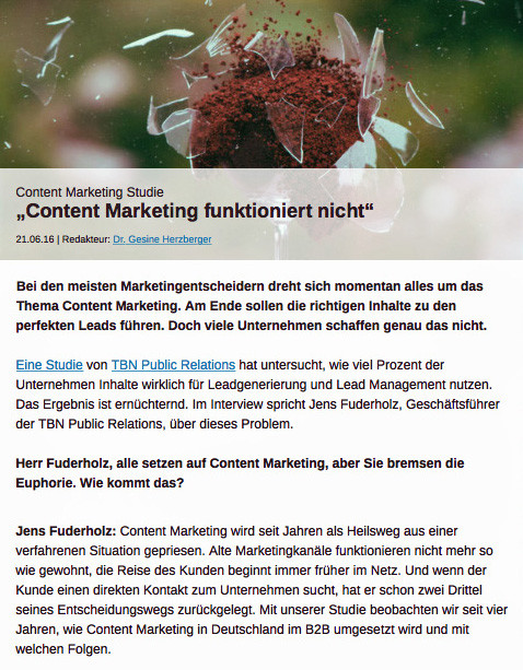 Redaktioneller Bericht über die Content Marketing Studie